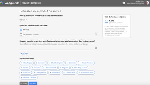 Mots clés proposé par Google Adwords